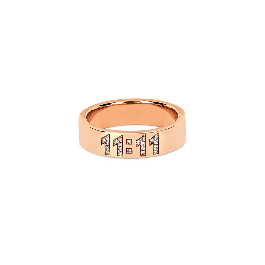 11:11 Pavé Diamond Band Rose Gold