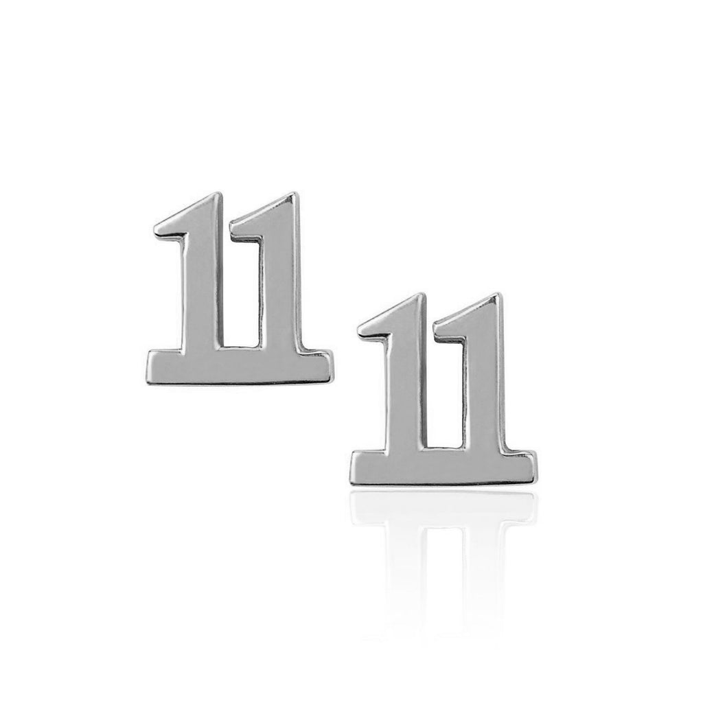 11 Numerology Studs White Gold
