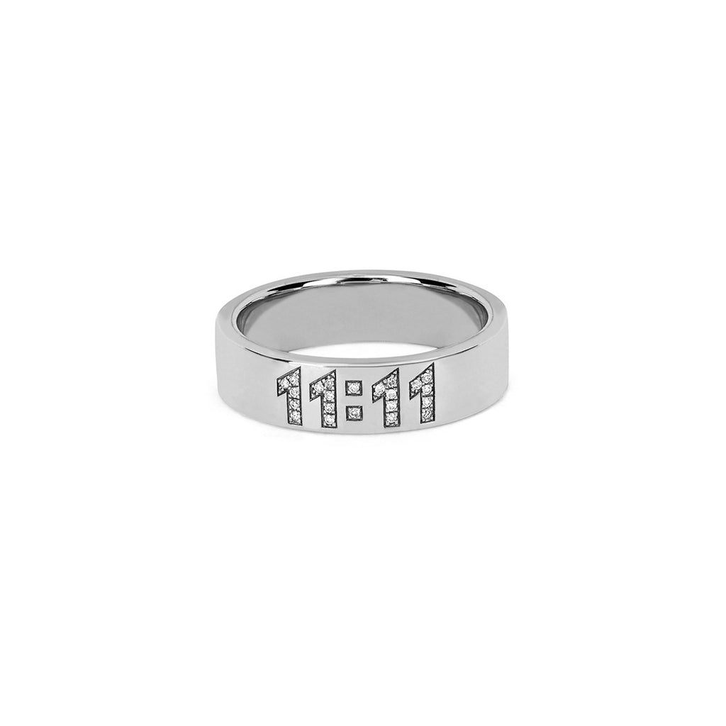 11:11 Pavé Diamond Band White Gold