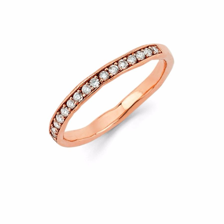 Diamond Channel Set Stacking Ring Rose Gold