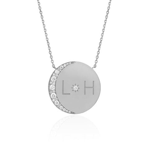 NEW! Sterling Silver Love You To The Moon and Back Necklace with Diamonds
