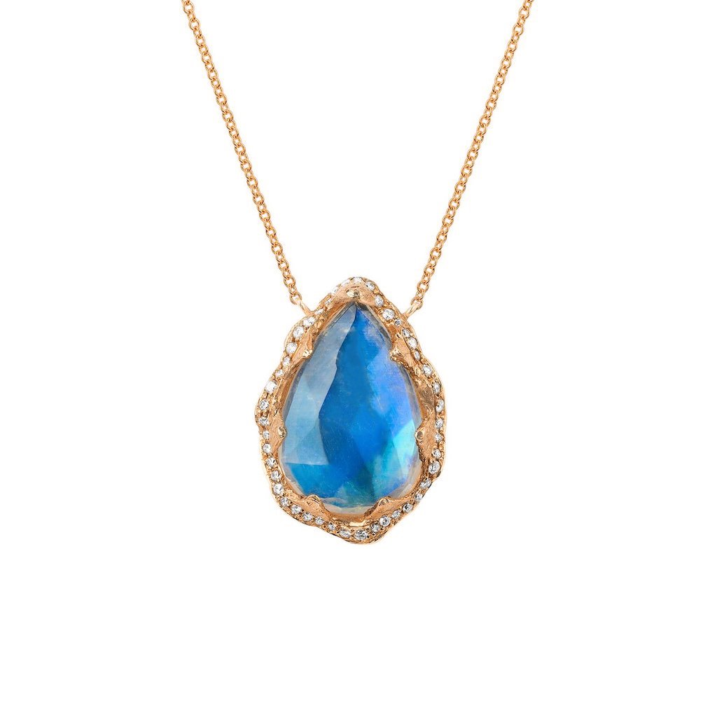 18k Premium Water Drop Blue Moonstone Queen Necklace