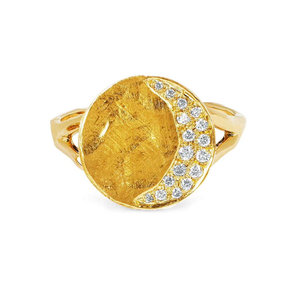 Waning Crescent Moon Phase Coin Ring Yellow Gold