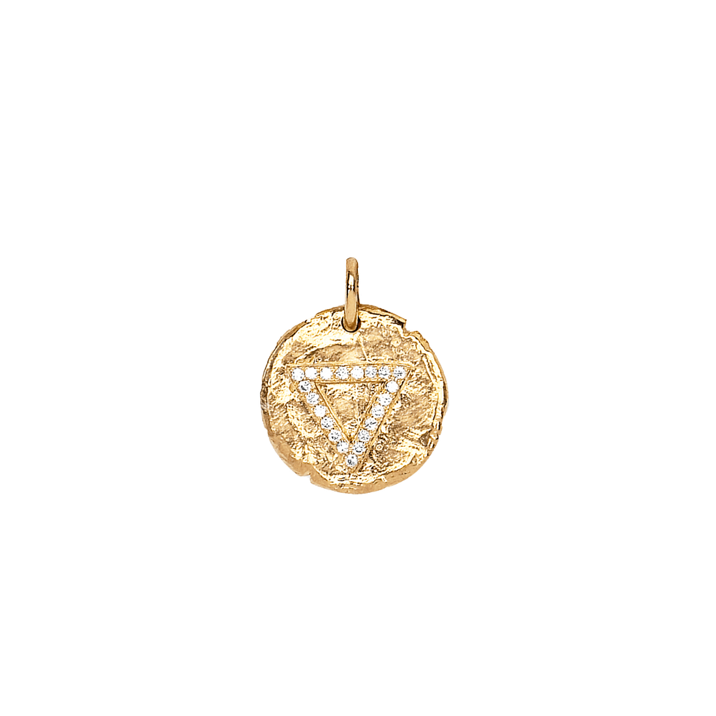 Baby Water Element Alchemy Coin Charm Yellow Gold