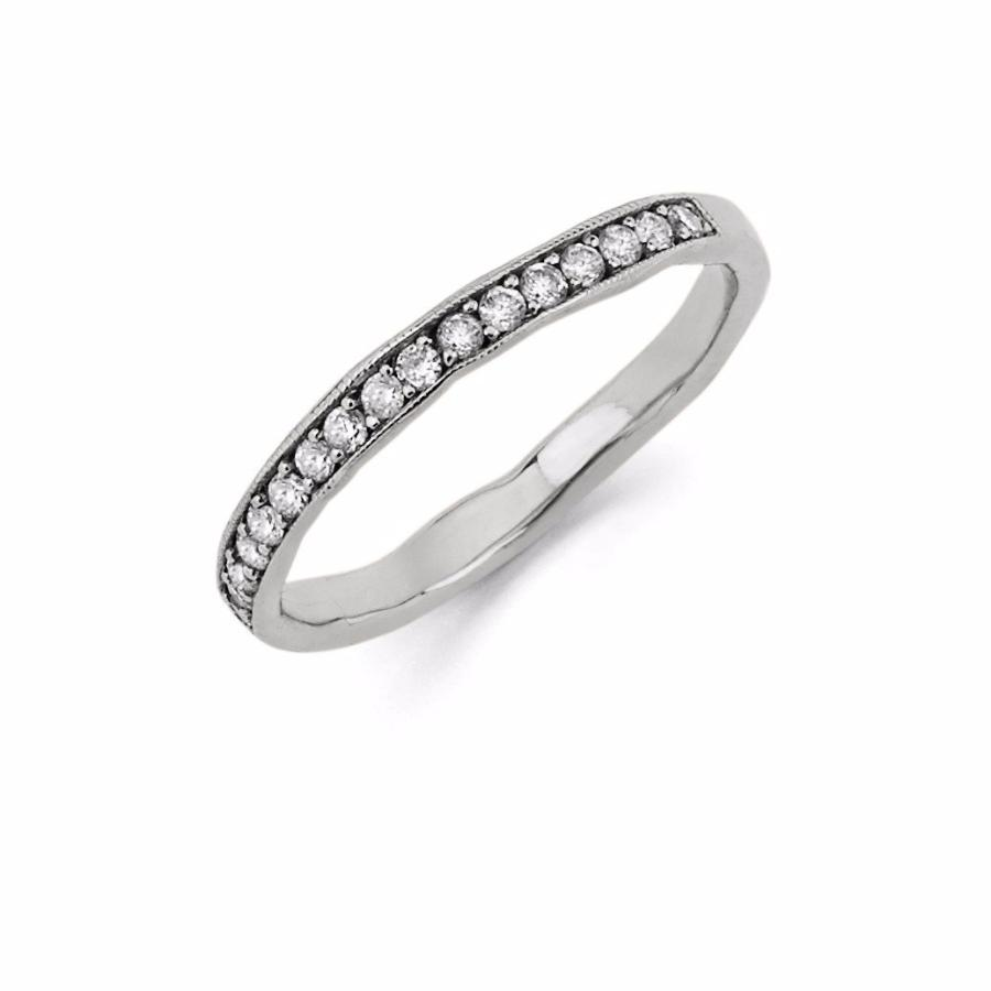 Diamond Channel Set Stacking Ring White Gold