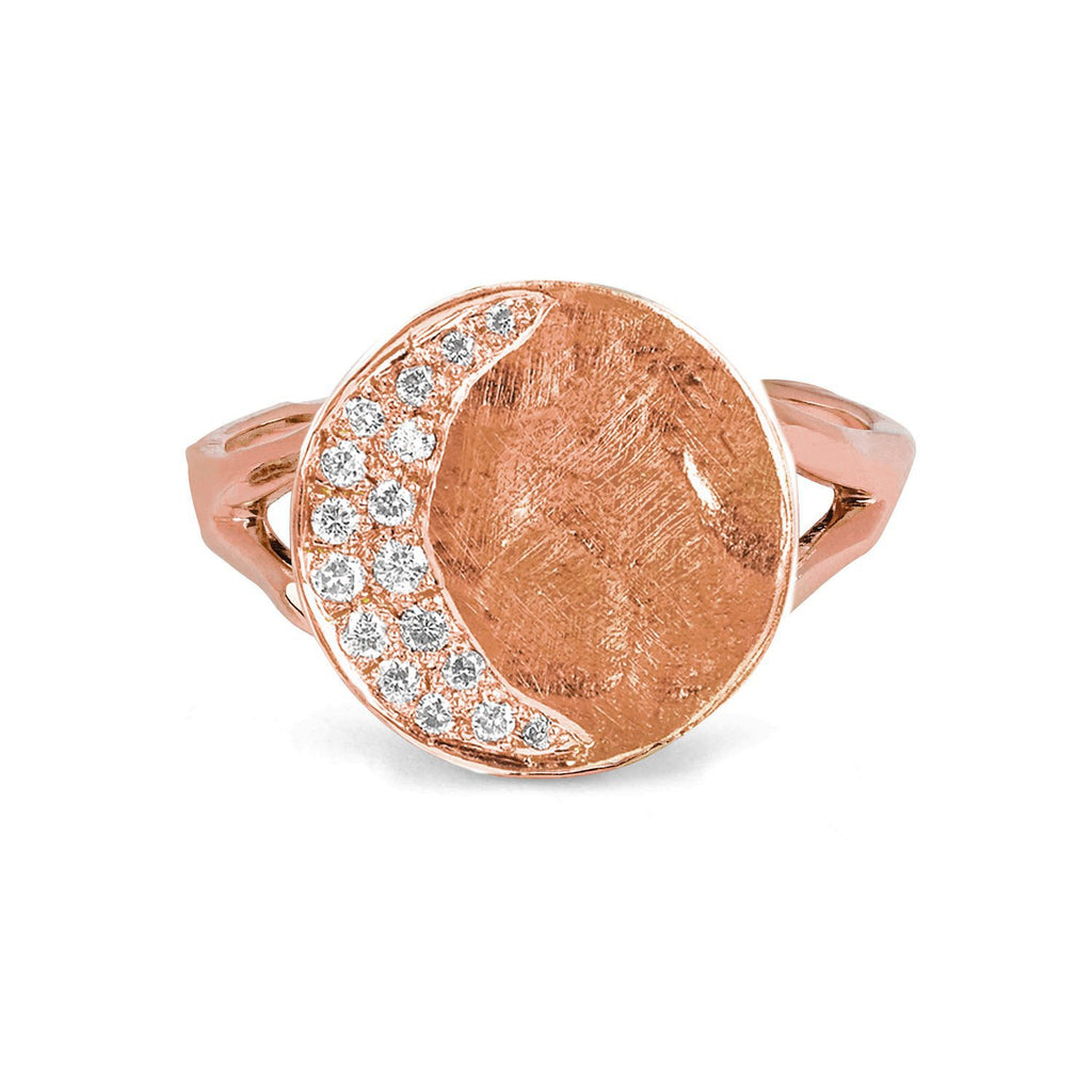 Waxing Crescent Moon Phase Coin Ring Rose Gold