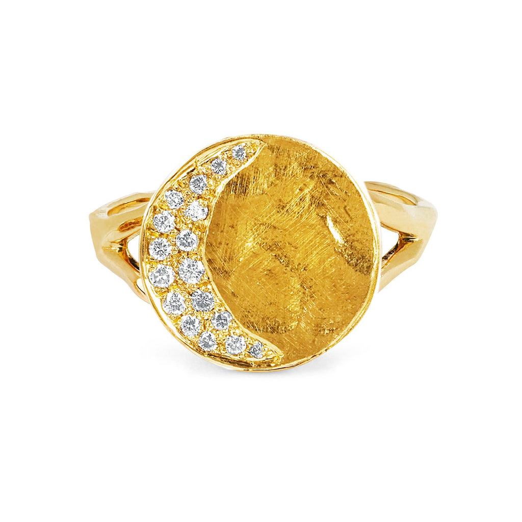 Waxing Crescent Moon Phase Coin Ring Yellow Gold