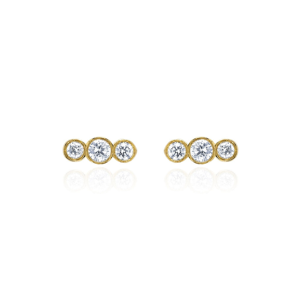 Tri-Star Studs Yellow Gold