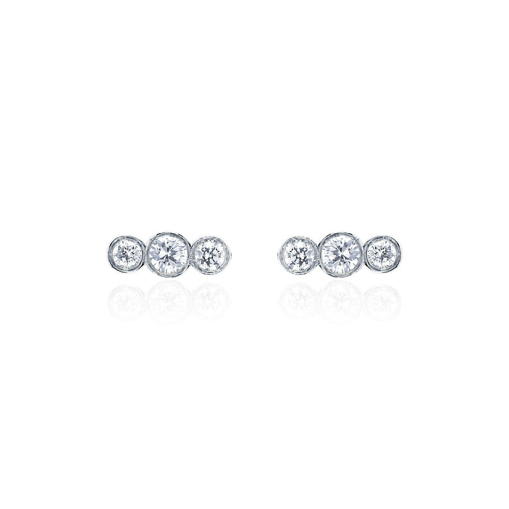 Tri-Star Studs White Gold