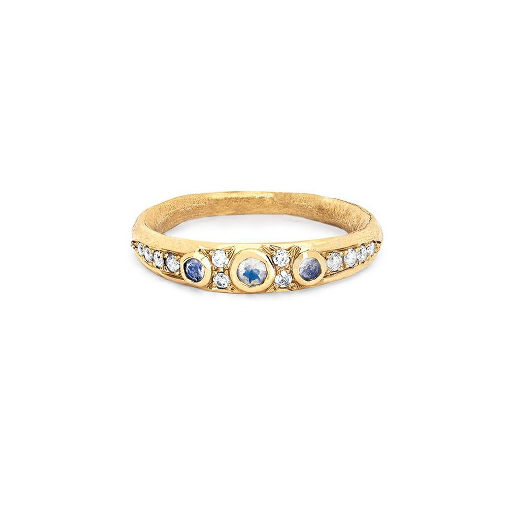Queen Three Blue Moonstone Pavé Diamond Band Small