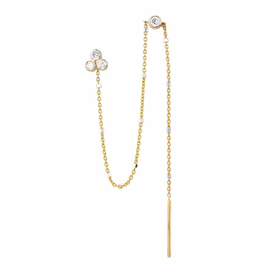 Diamond Star Shower Thread Through Earring Yellow Gold