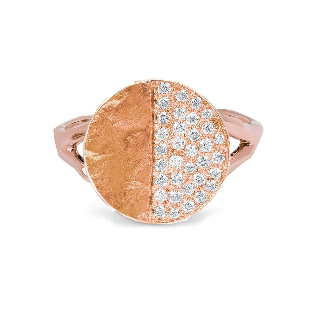 Third Quarter Moon Phase Coin Ring Rose Gold