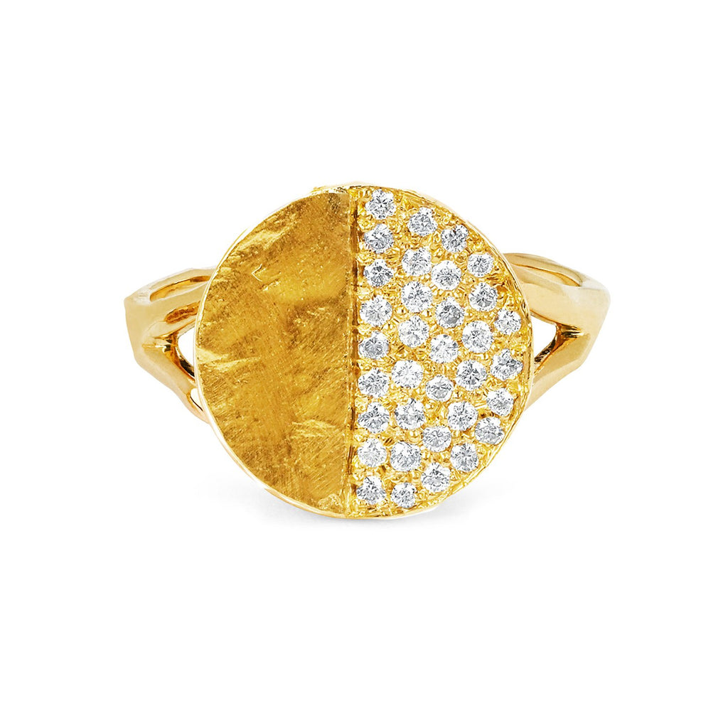 Third Quarter Moon Phase Coin Ring Yellow Gold