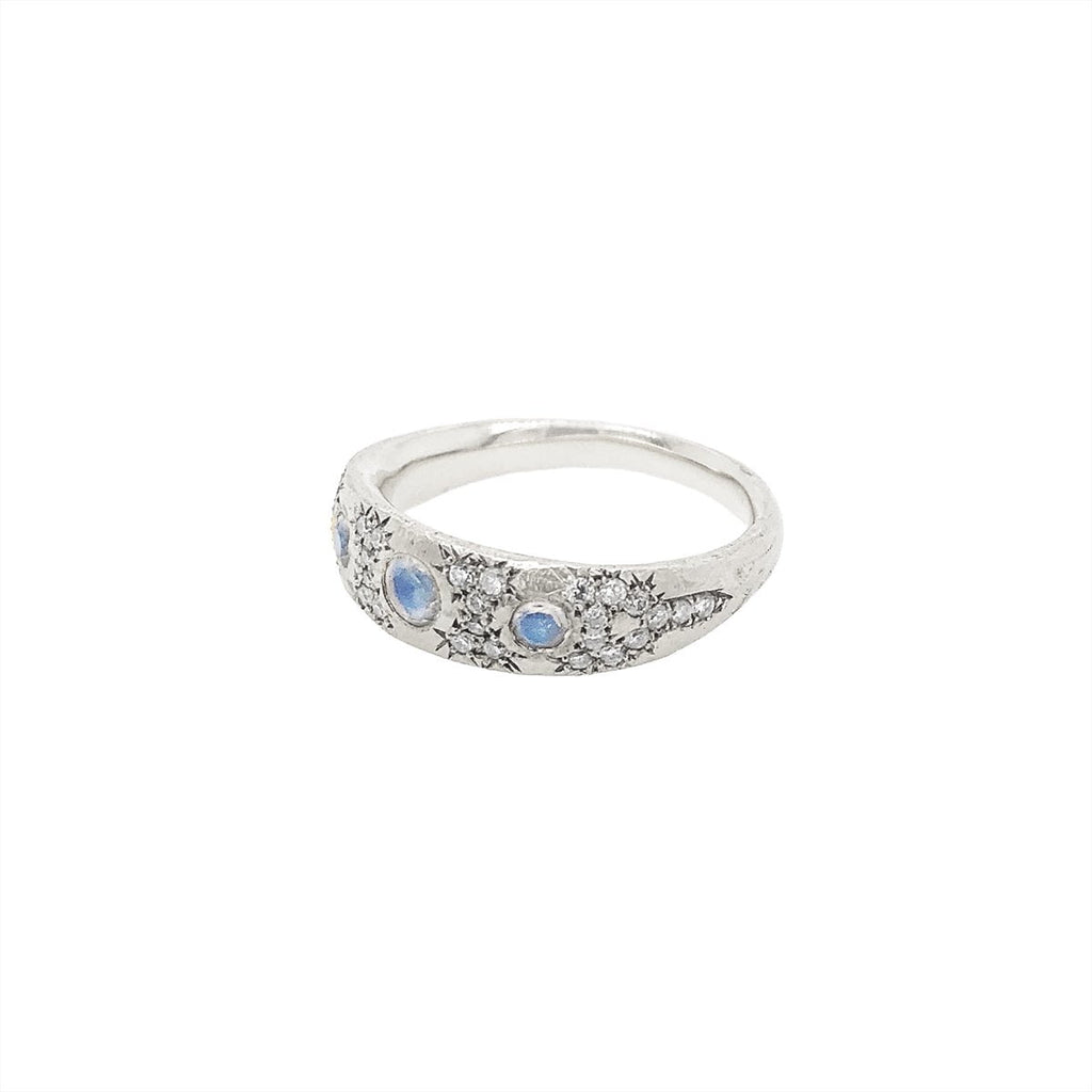 Queen Three Blue Moonstone Pavé Diamond Band Queen Three Blue Moonstone Pavé Diamond Band