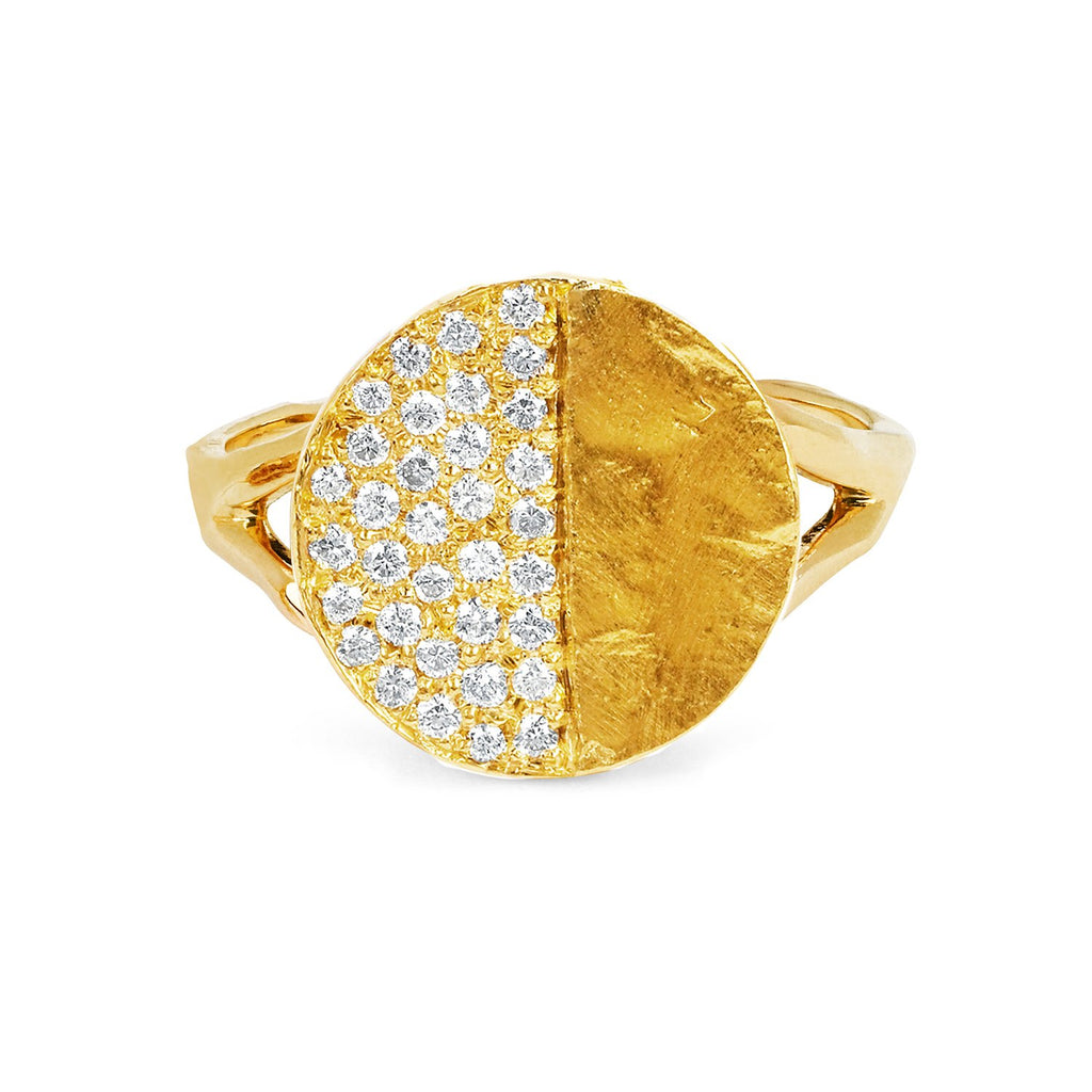 First Quarter Moon Phase Coin Ring Yellow Gold