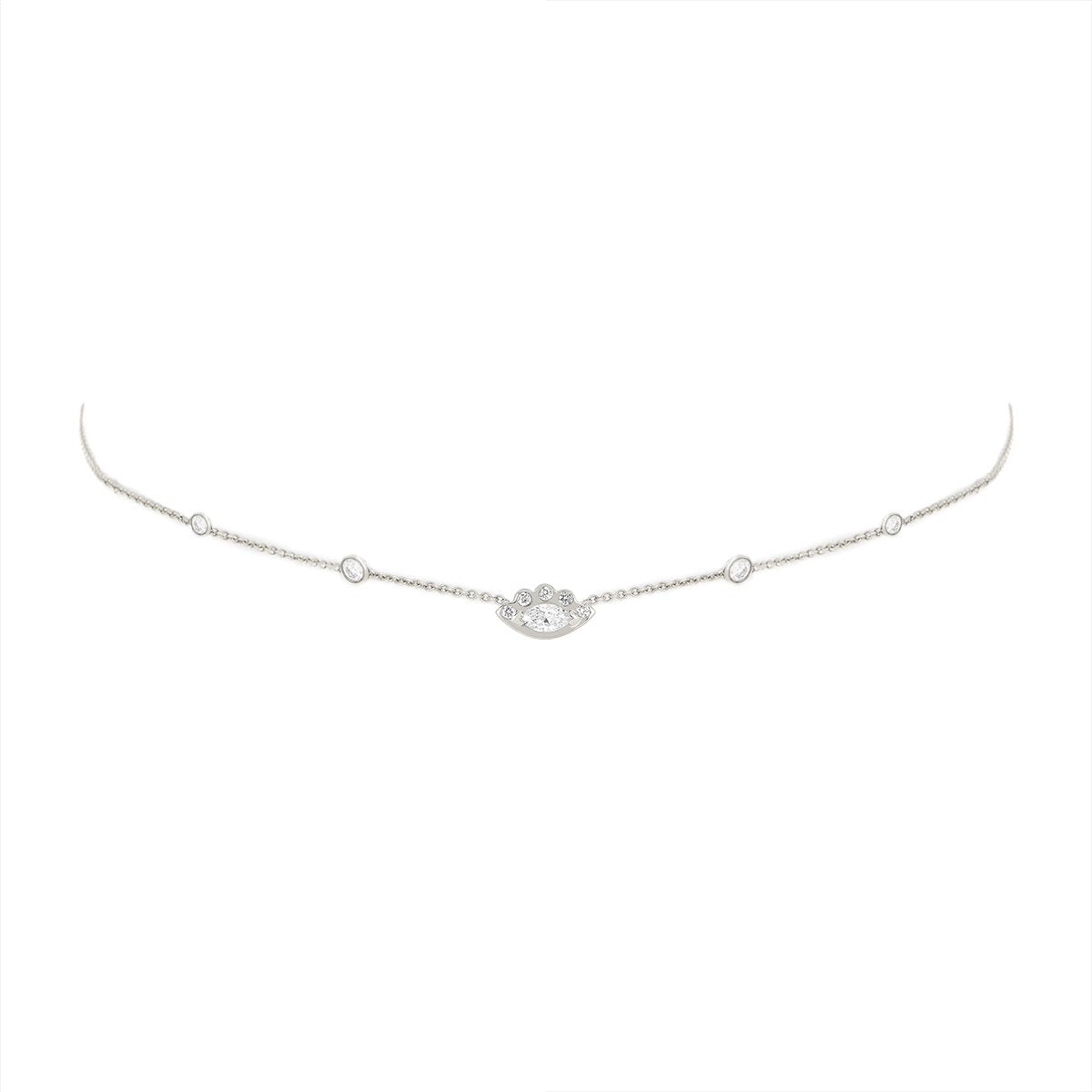 5 Diamond Orbit Bezel Choker with Angel Eye Diamond Center