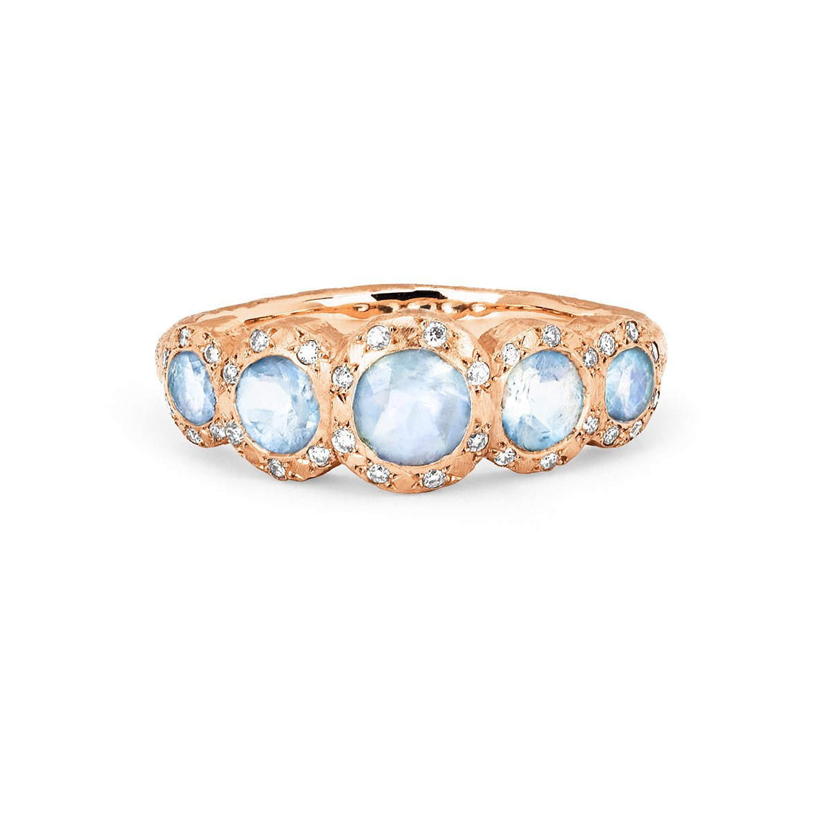 Queen Five Moonstone Band with Sprinkled Diamonds