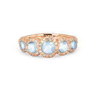 Queen Five Moonstone Band with Sprinkled Diamonds Queen Five Moonstone Band with Sprinkled Diamonds