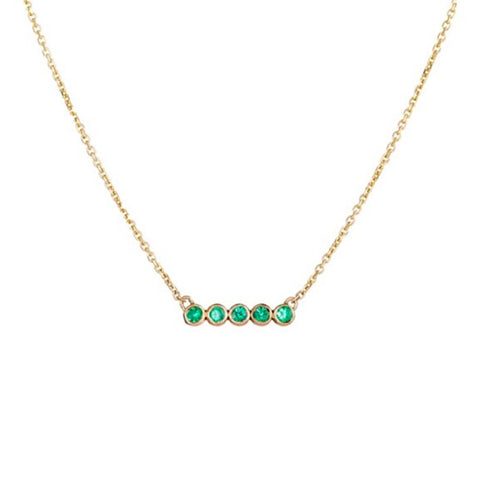 5 Emerald Star Line Necklace
