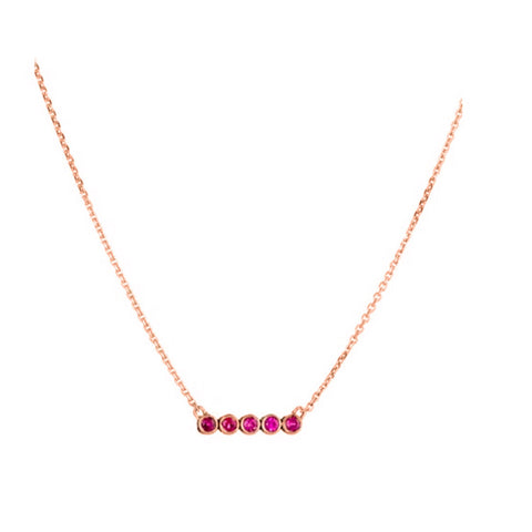 5 Ruby Star Line Necklace