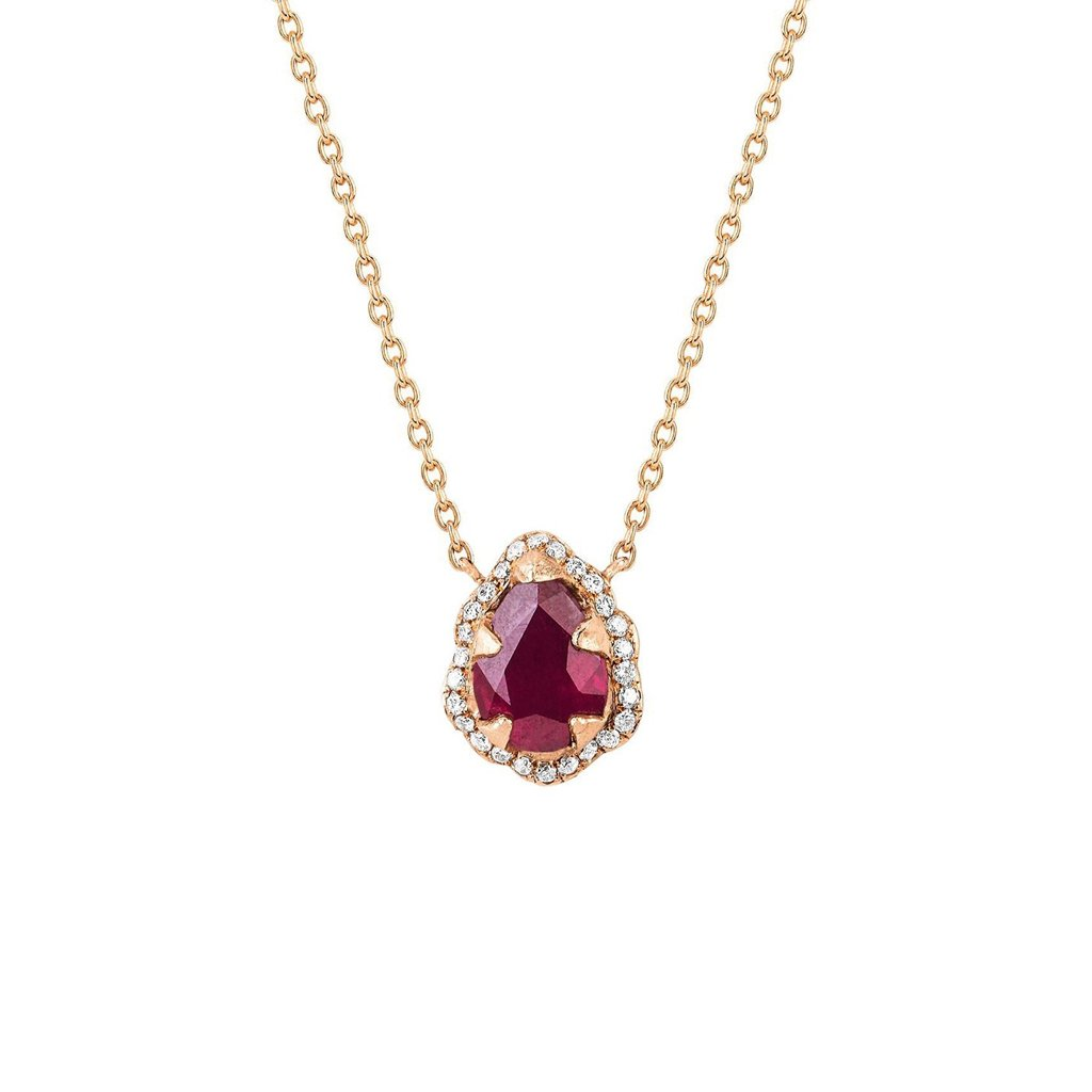 Micro Queen Water Drop Ruby Necklace with Pavé Diamond Halo Micro Queen Water Drop Ruby Necklace with Pavé Diamond Halo