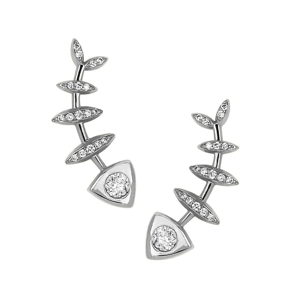 Full Diamond Fishbone Ear Cuff Pair White Gold