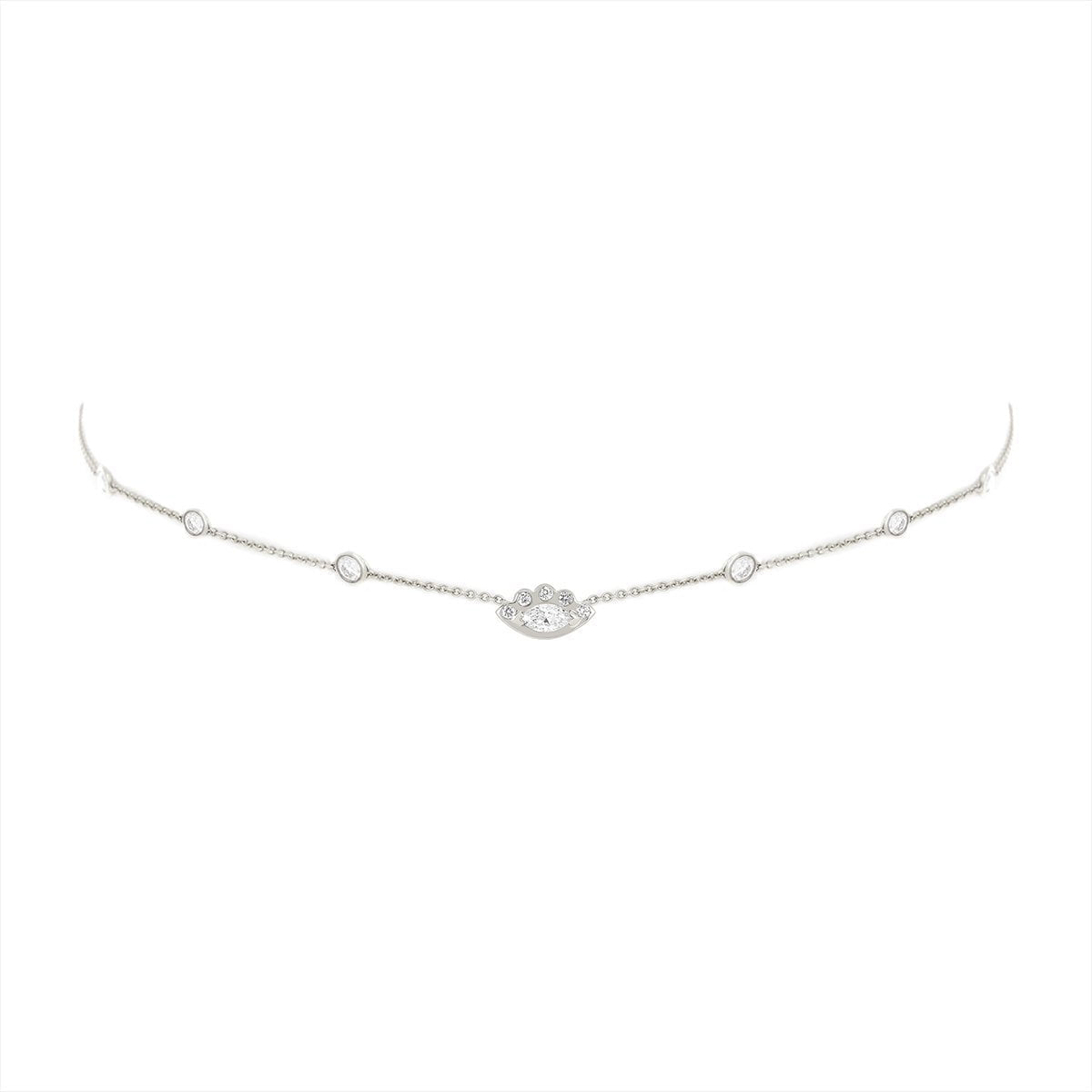 7 Diamond Orbit Bezel Choker with Angel Eye Diamond Center