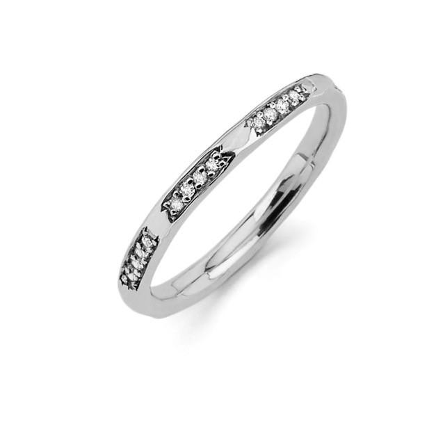 4 Diamond Row Stack Ring White Gold