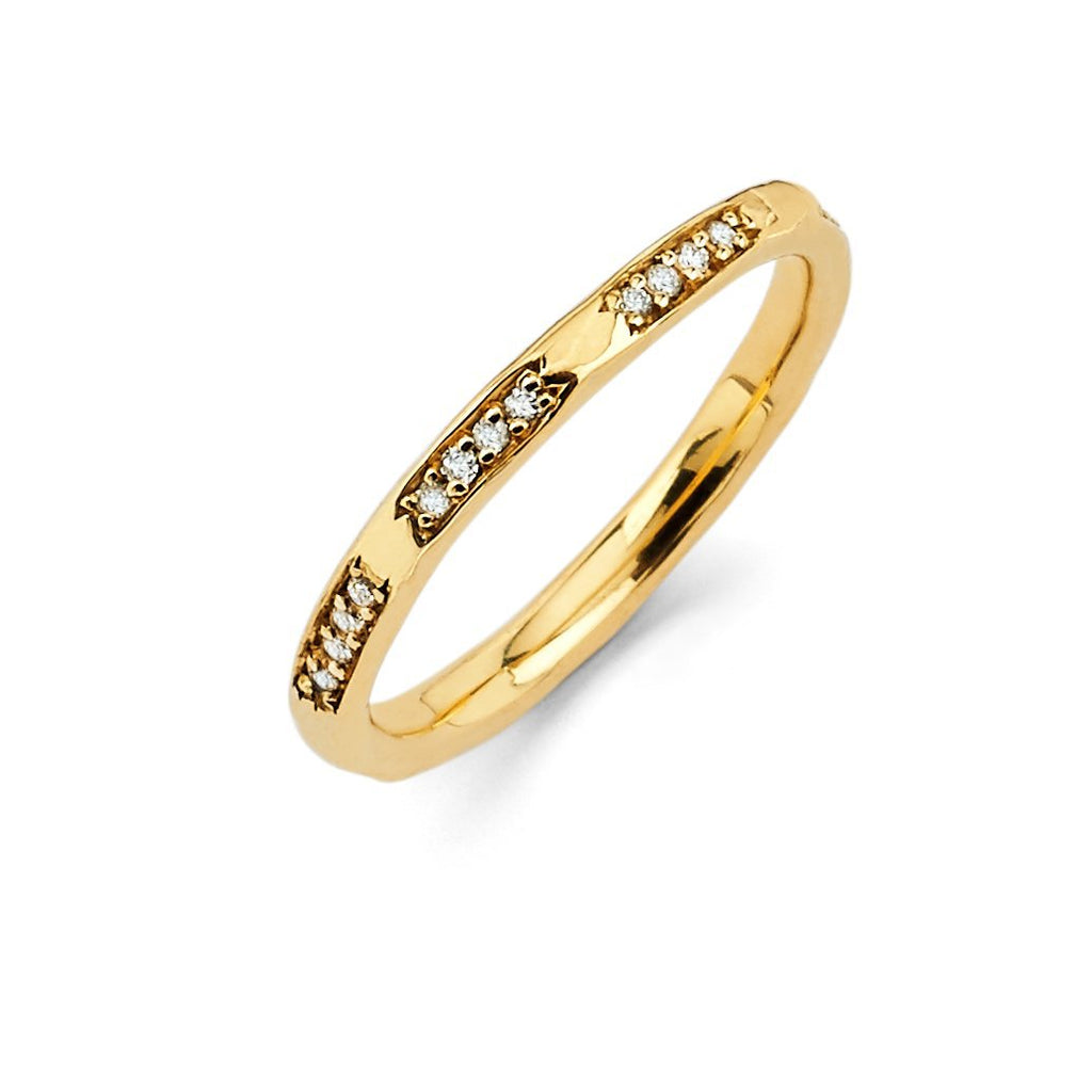 4 Diamond Row Stack Ring Yellow Gold