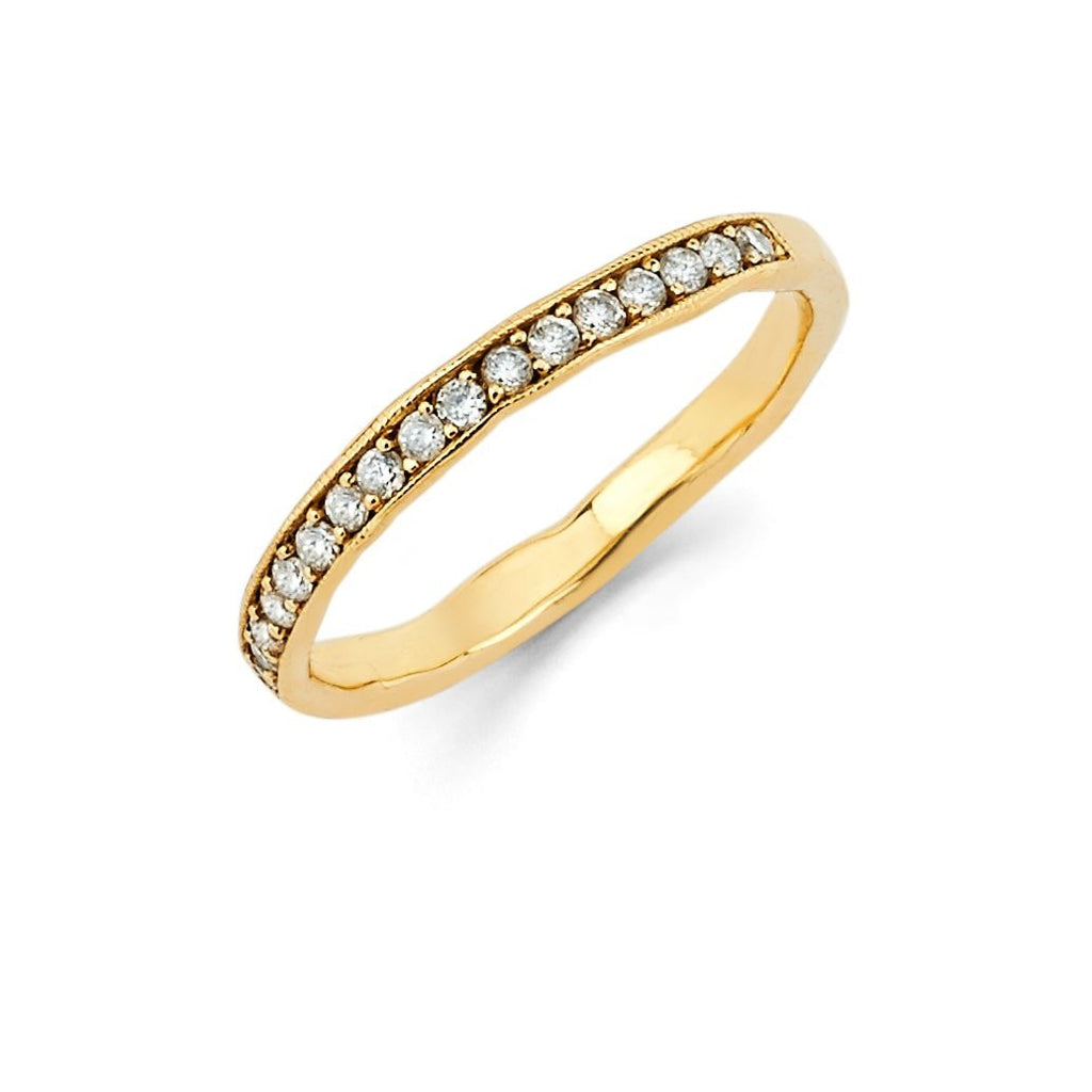 Diamond Channel Set Stacking Ring Yellow Gold