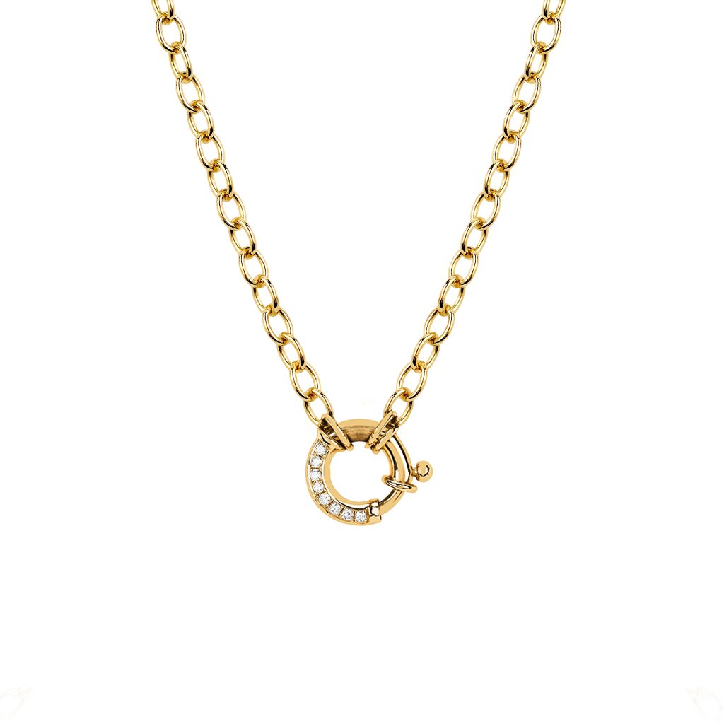 NEW! Alchemy Chain Charm Necklace with Pavé Diamond Hoop Closure NEW! Alchemy Chain Charm Necklace with Pavé Diamond Hoop Closure