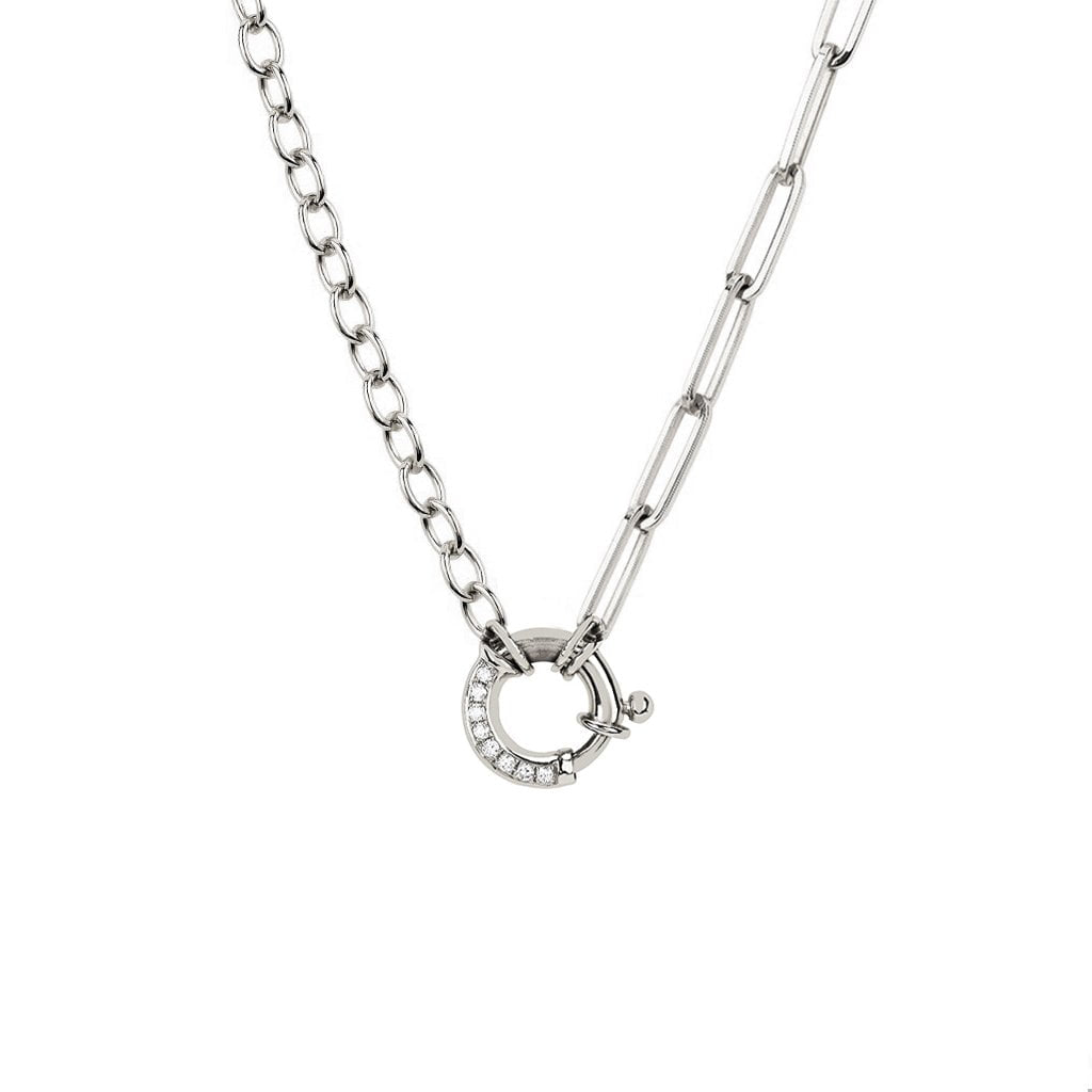 NEW! Alchemy Chain and Link Charm Necklace with Pavé Diamond Hoop Closure NEW! Alchemy Chain and Link Charm Necklace with Pavé Diamond Hoop Closure