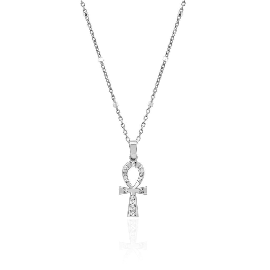 Diamond Eternal Ankh Cross Necklace White Gold