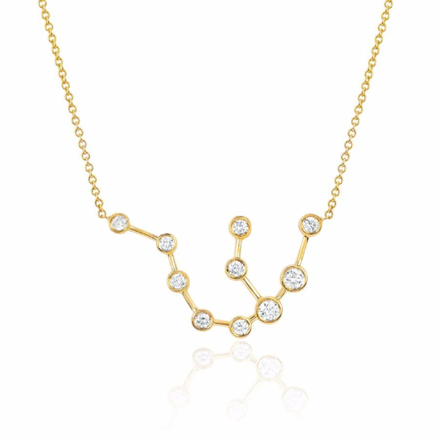 Aquarius Constellation Necklace Yellow Gold