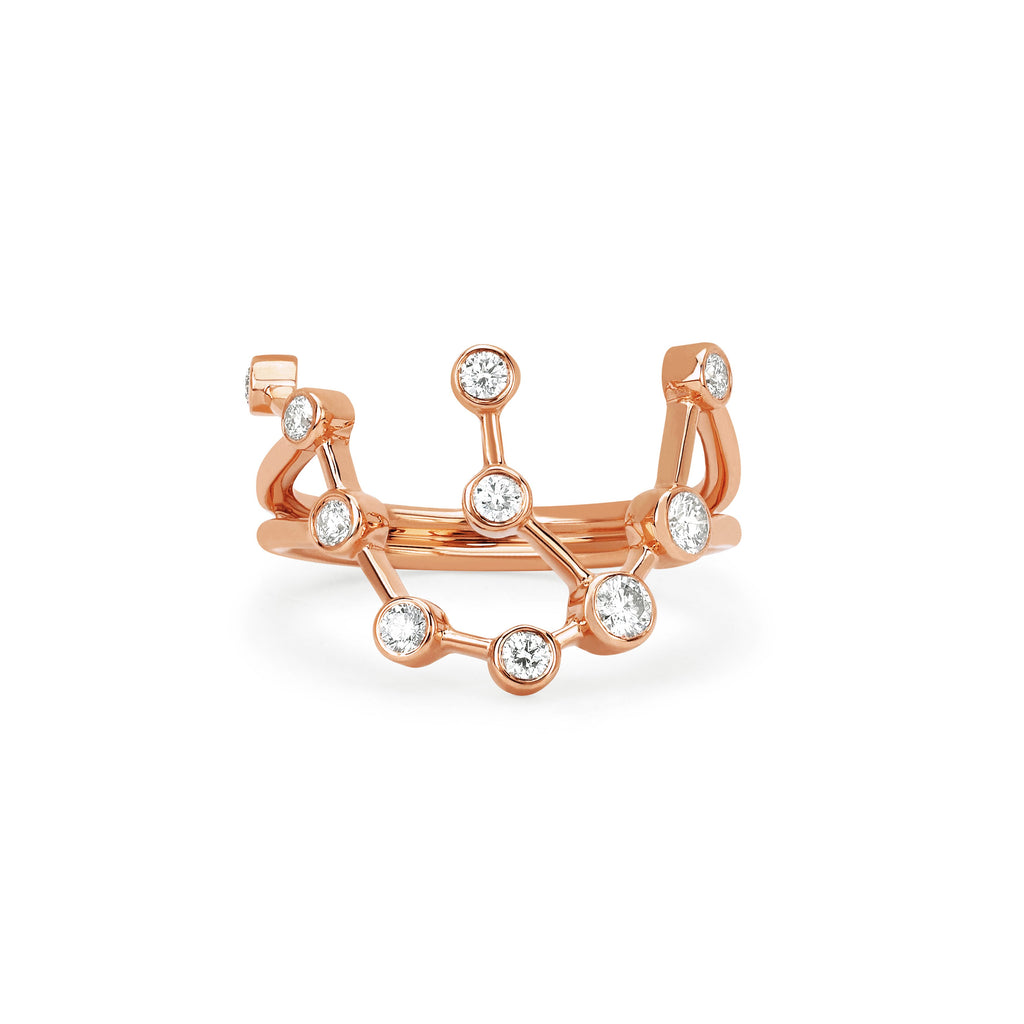 Aquarius Constellation Ring Rose Gold