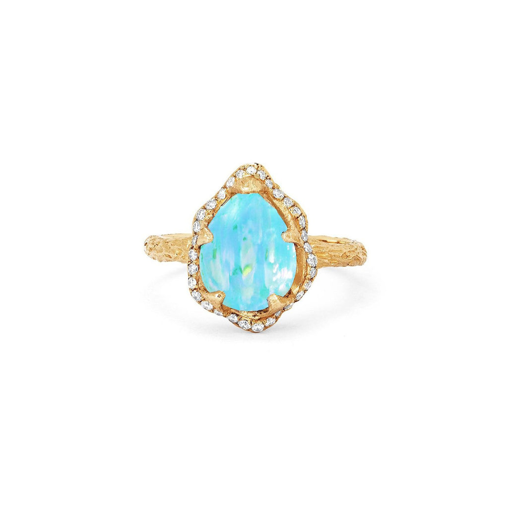 Baby Queen Water Drop Blue Opal Ring with Full Pavé Diamond Halo Baby Queen Water Drop Blue Opal Ring with Full Pavé Diamond Halo
