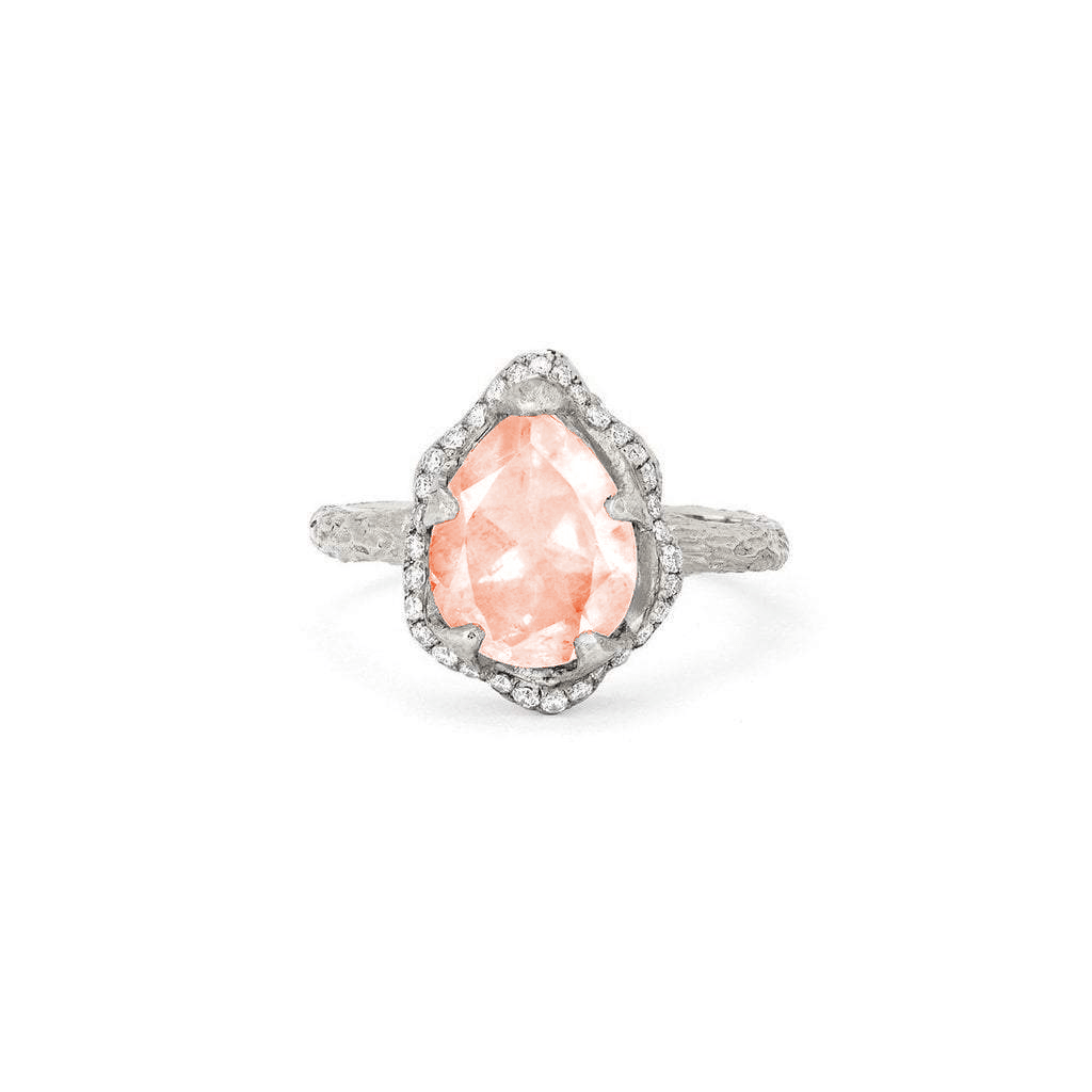 NEW! Baby Queen Water Drop Morganite Ring with Full Pavé Halo