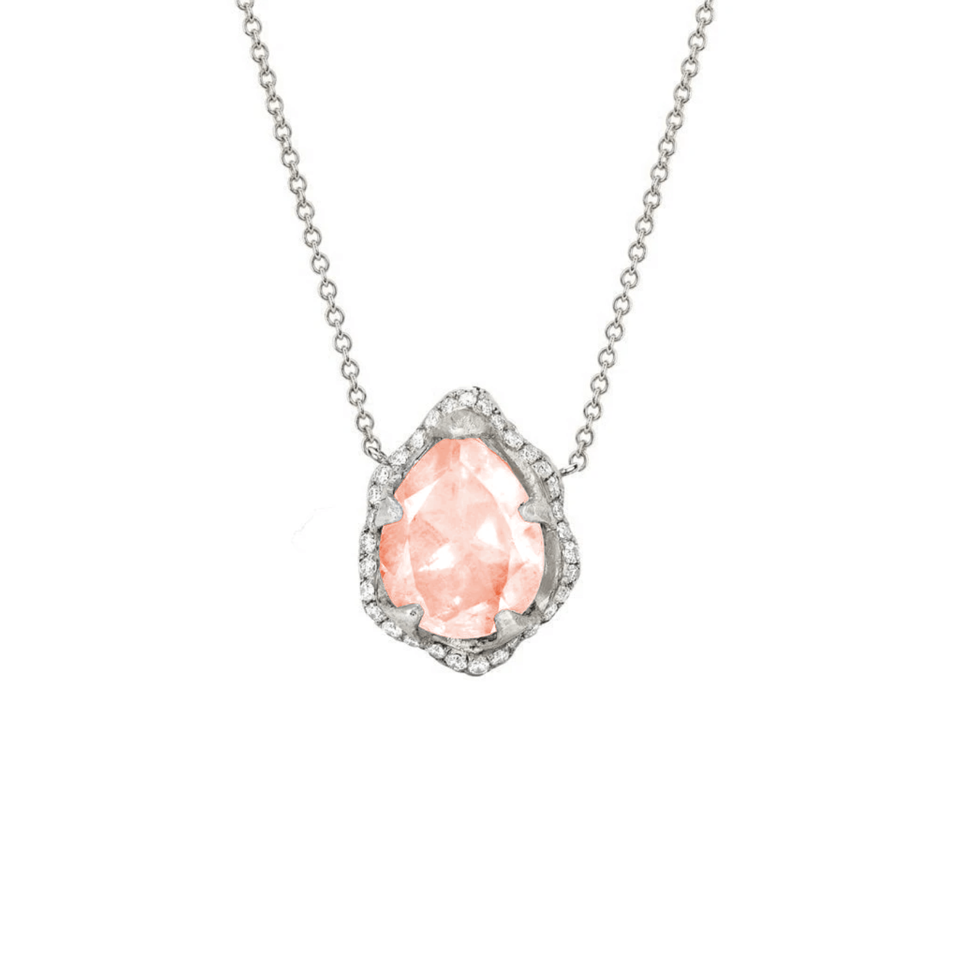 NEW! Baby Queen Water Drop Morganite Necklace with Full Pavé Halo