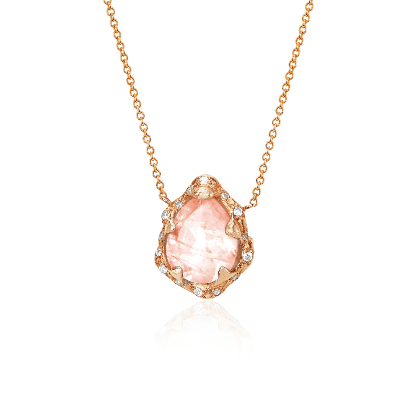 NEW! Baby Queen Water Drop Morganite Necklace with Sprinkled Diamonds