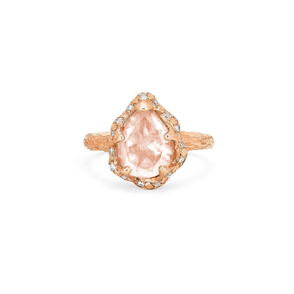 NEW! Baby Queen Water Drop Morganite Ring with Sprinkled Diamonds