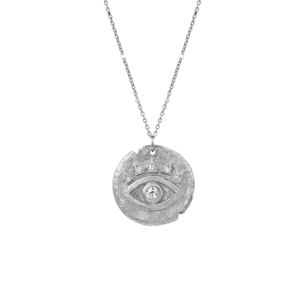 Diamond Baby Eye of Protection Coin Pendant White Gold