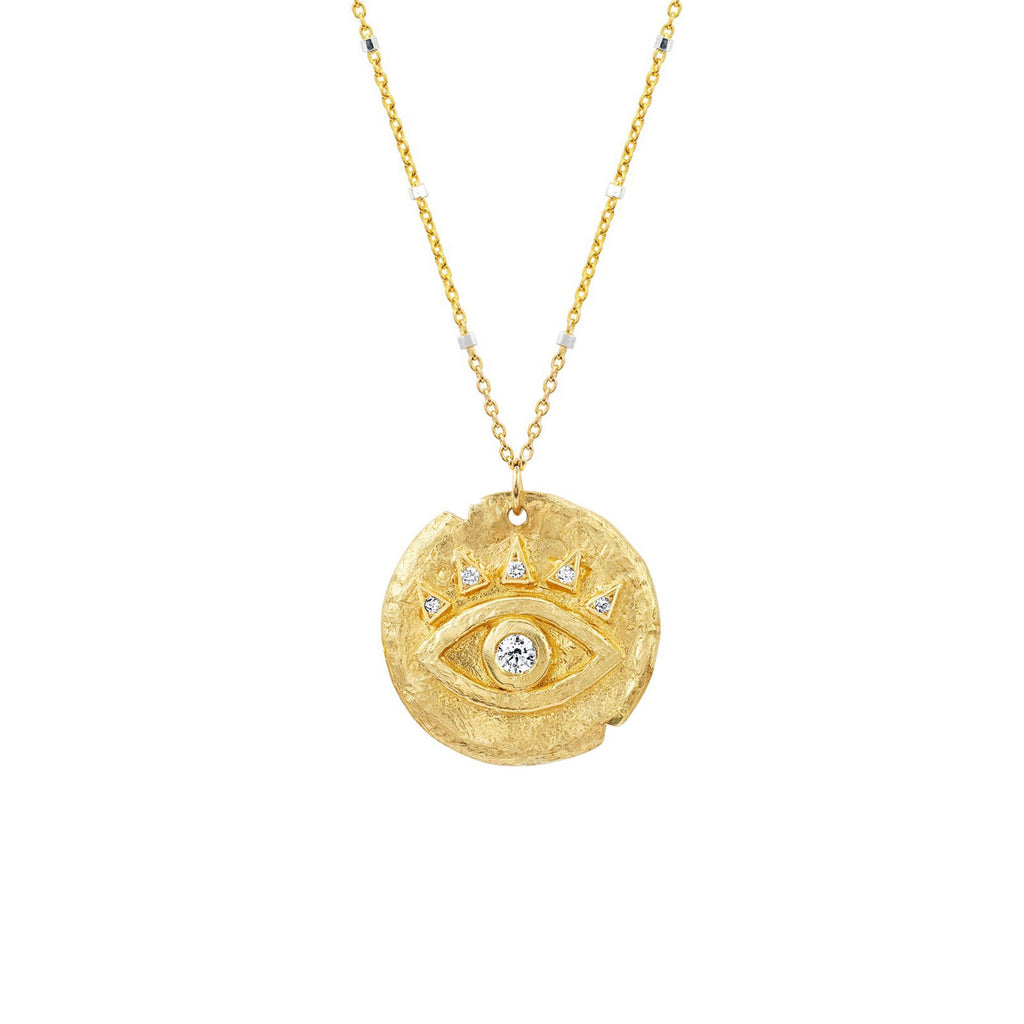 Diamond Baby Eye of Protection Coin Pendant Yellow Gold