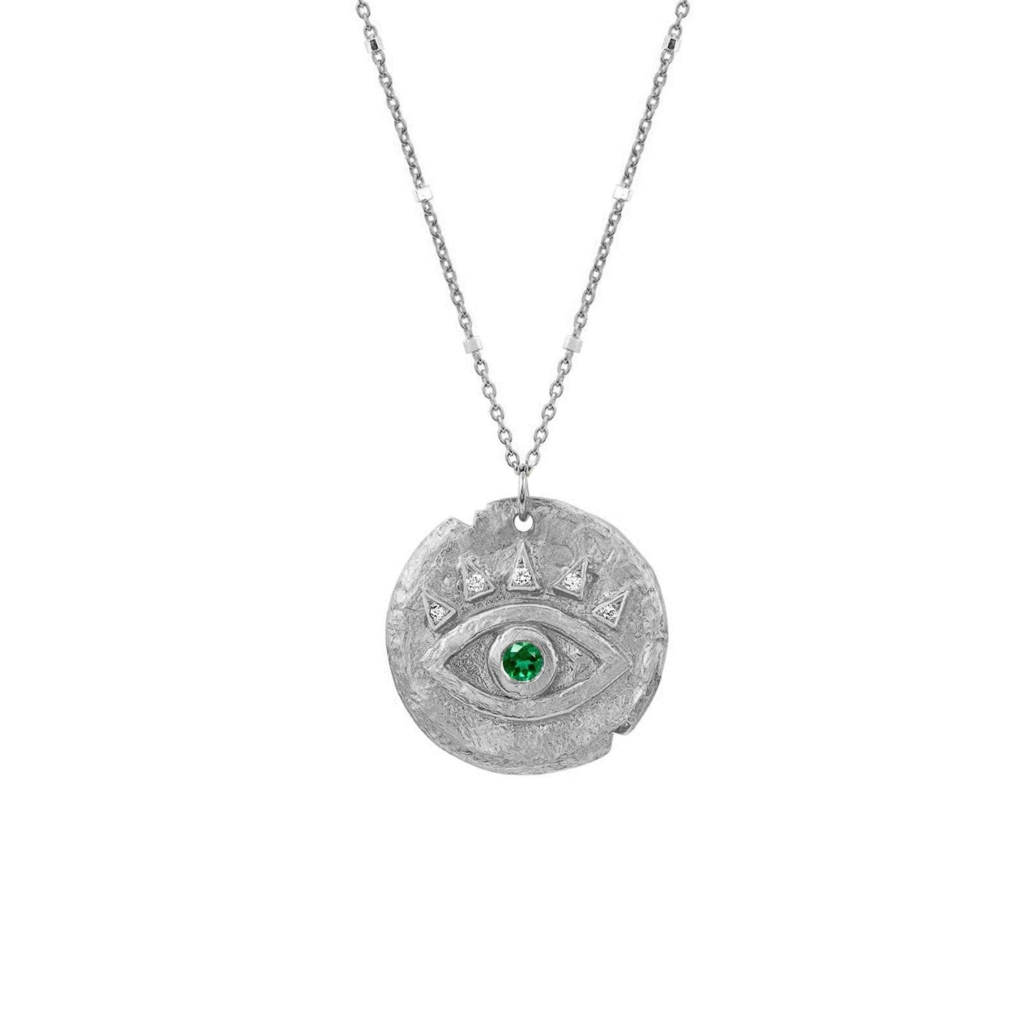 Emerald Baby Eye of Protection Coin Pendant