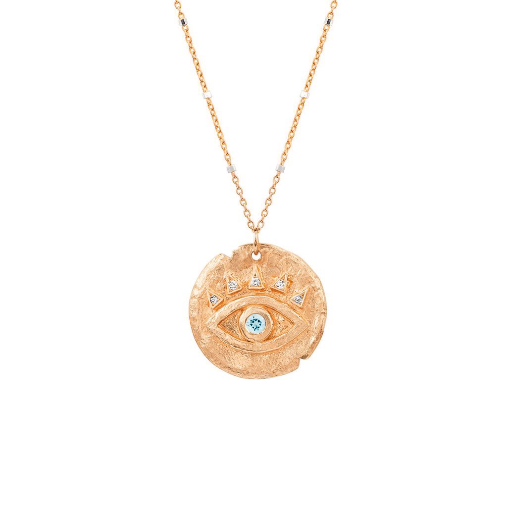 Aquamarine Baby Eye of Protection Coin Pendant