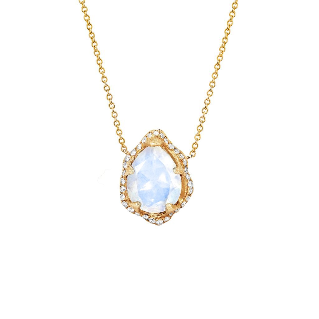 Baby Queen Water Drop Moonstone Necklace with Full Pavé Diamond Halo
