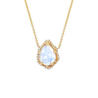 Baby Queen Water Drop Moonstone Necklace with Full Pavé Diamond Halo Baby Queen Water Drop Moonstone Necklace with Full Pavé Diamond Halo