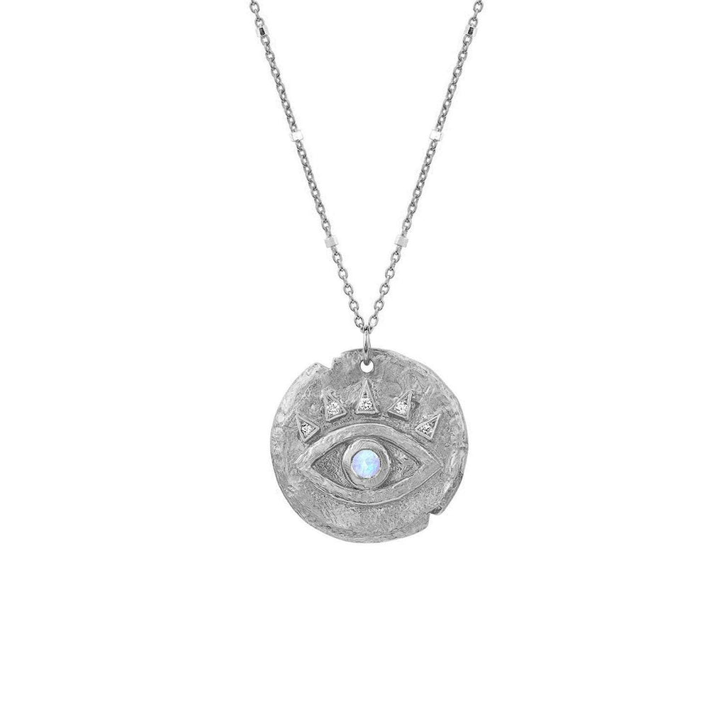 Moonstone Baby Eye of Protection Coin Pendant Moonstone Baby Eye of Protection Coin Pendant