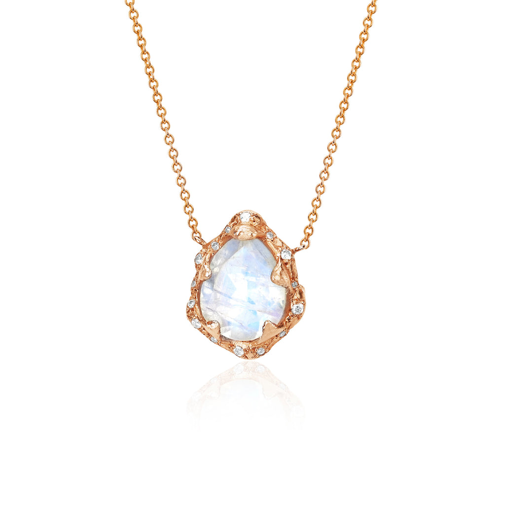 Baby Queen Water Drop Moonstone Necklace with Sprinkled Diamonds Rose Gold