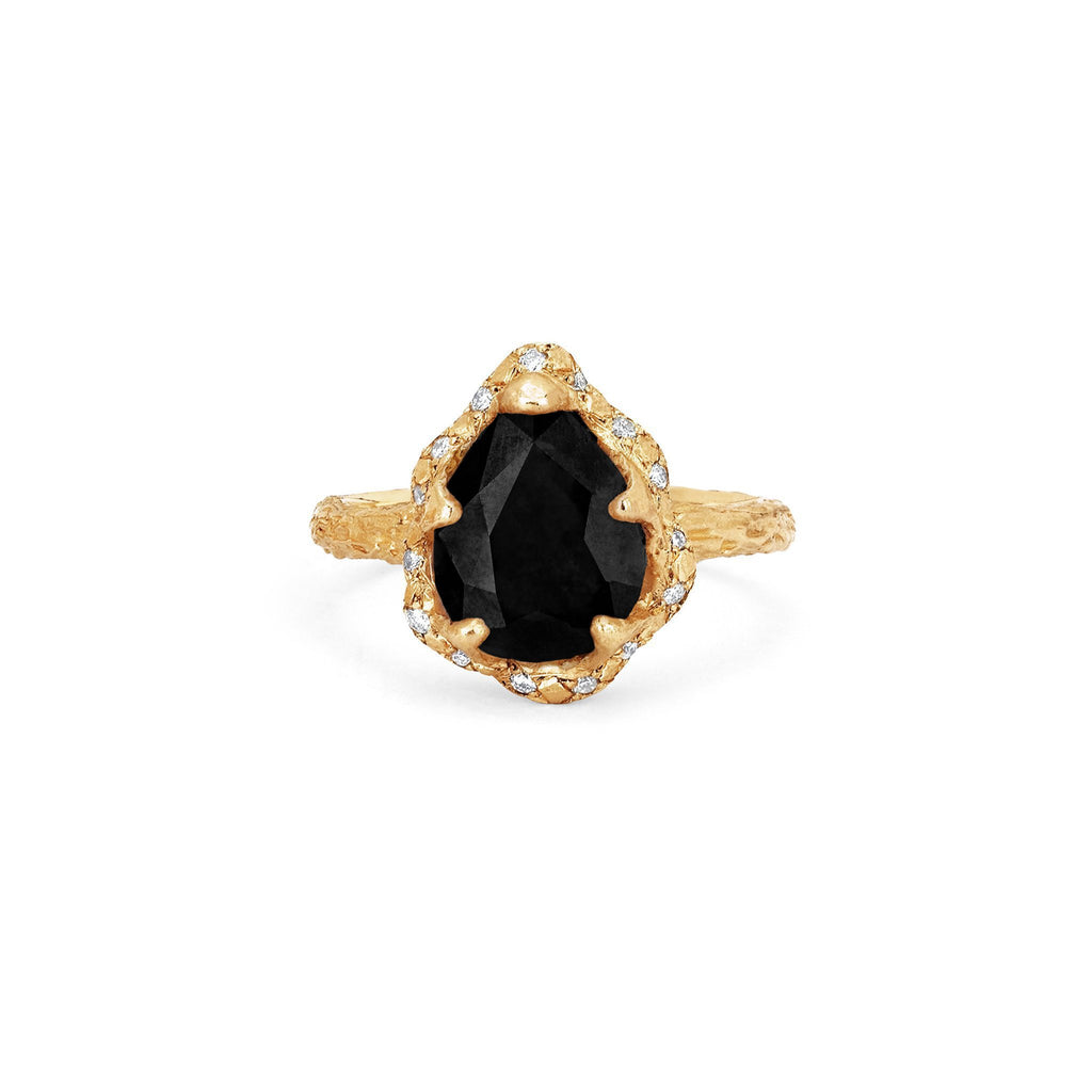 Baby Queen Water Drop Onyx Ring with Sprinkled Diamonds Baby Queen Water Drop Onyx Ring with Sprinkled Diamonds