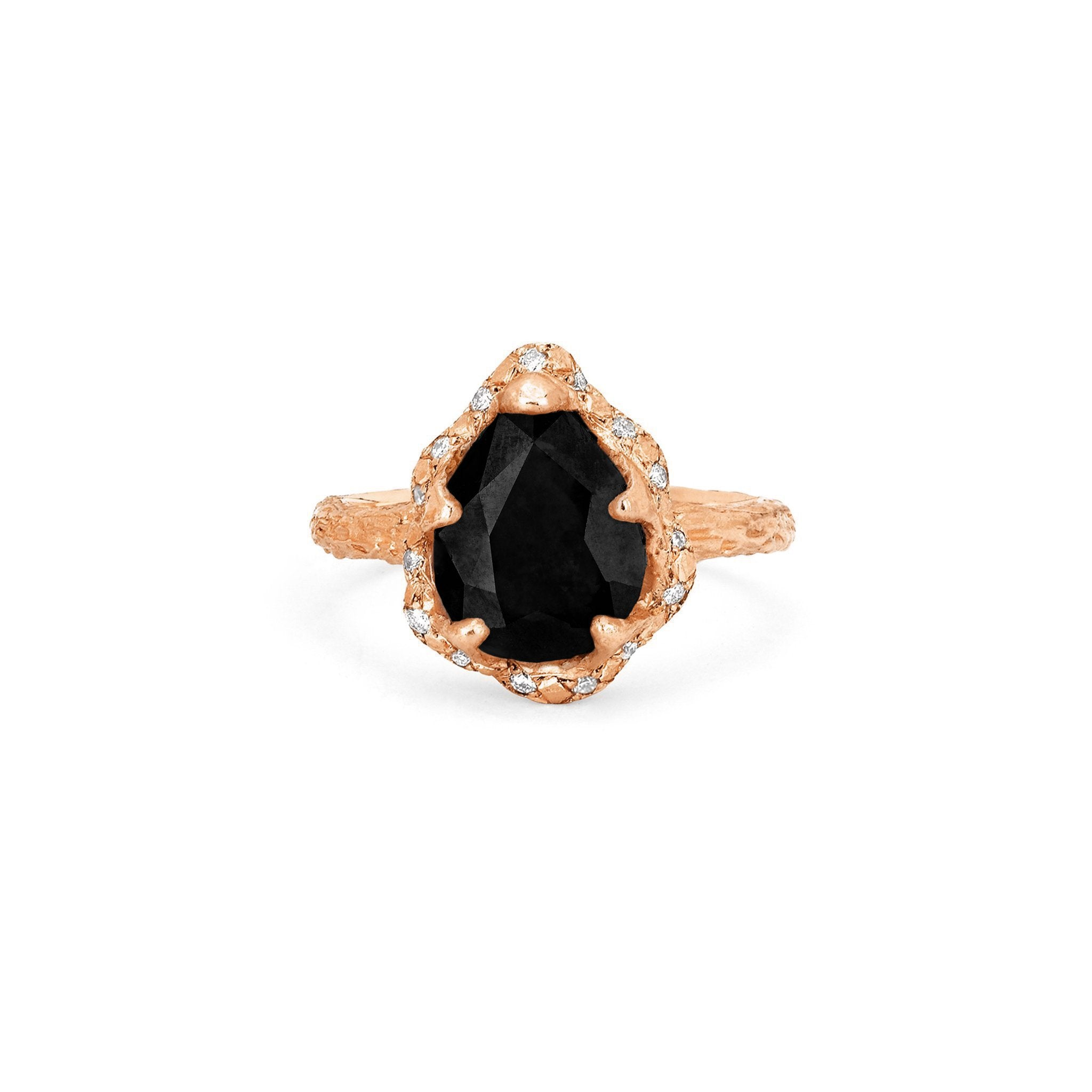 Baby Queen Water Drop Onyx Ring with Sprinkled Diamonds